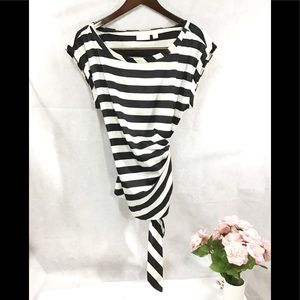 New York and Company silky black white striped top